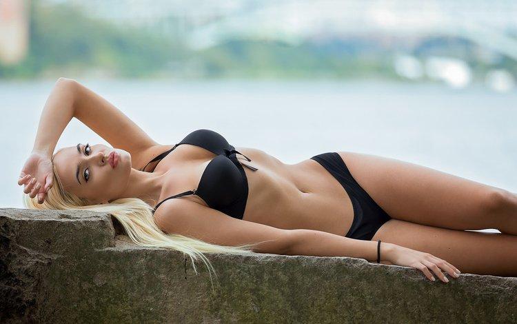 девушка, блондинка, взгляд, модель, волосы, лицо, черное белье, girl, blonde, look, model, hair, face, black lingerie