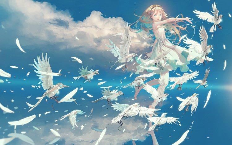 небо, облака, девушка, аниме, птицы, the sky, clouds, girl, anime, birds