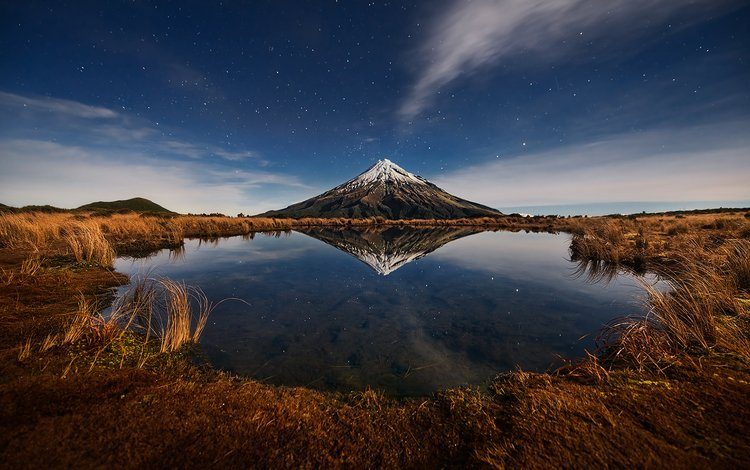 the sky, clouds, lake, nature, reflection, mountain, the volcano