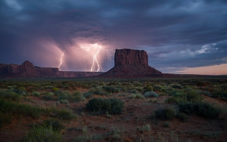 небо, трава, скалы, тучи, молния, аризона, долина монументов, the sky, grass, rocks, clouds, lightning, az, monument valley
