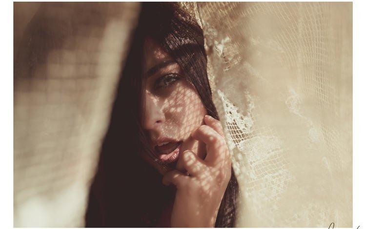 light, girl, portrait, look, shadow, model, hair, lips, face, tulle