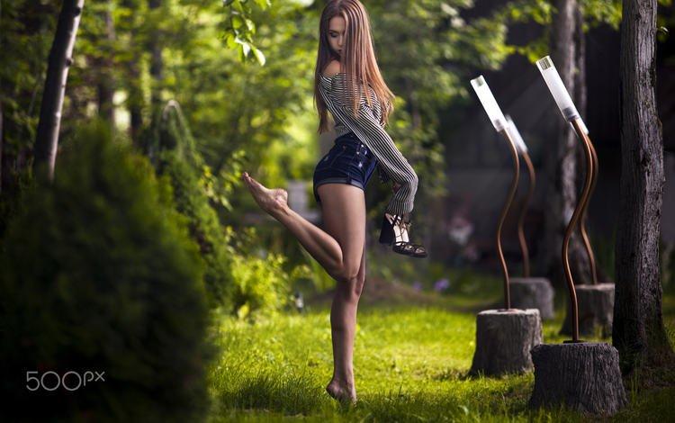 grass, trees, girl, model, legs, shirt, long hair, barefoot, bare shoulders, denim shorts, high heels