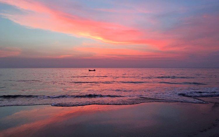 закат, море, пляж, лодка, sunset, sea, beach, boat