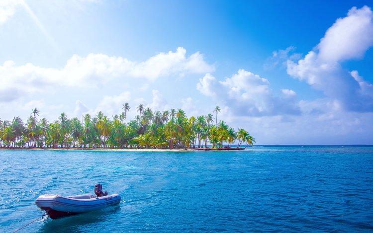 sea, boat, island, tropics, 2