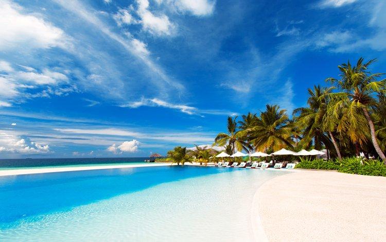 море, пляж, бассейн, курорт, тропики, мальдивы, 14, sea, beach, pool, resort, tropics, the maldives