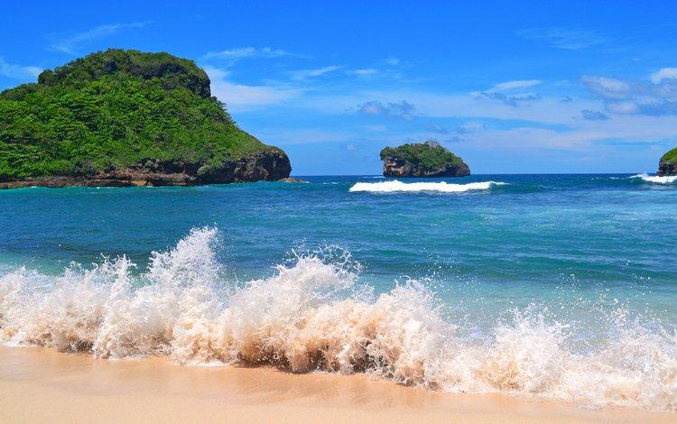 волны, море, пляж, острова, wave, sea, beach, islands