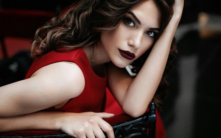девушка, макияж, брюнетка, aleksandra aksentieva, rina shuster, взгляд, модель, грудь, волосы, губы, лицо, girl, makeup, brunette, look, model, chest, hair, lips, face