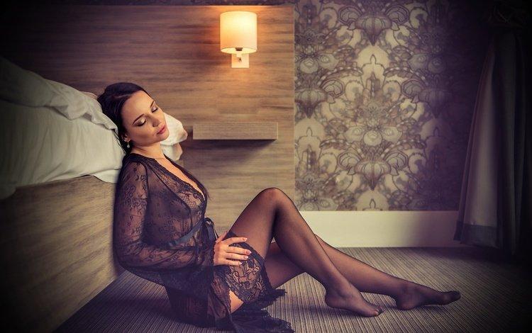 girl, brunette, model, legs, stockings, lace, angelina petrova