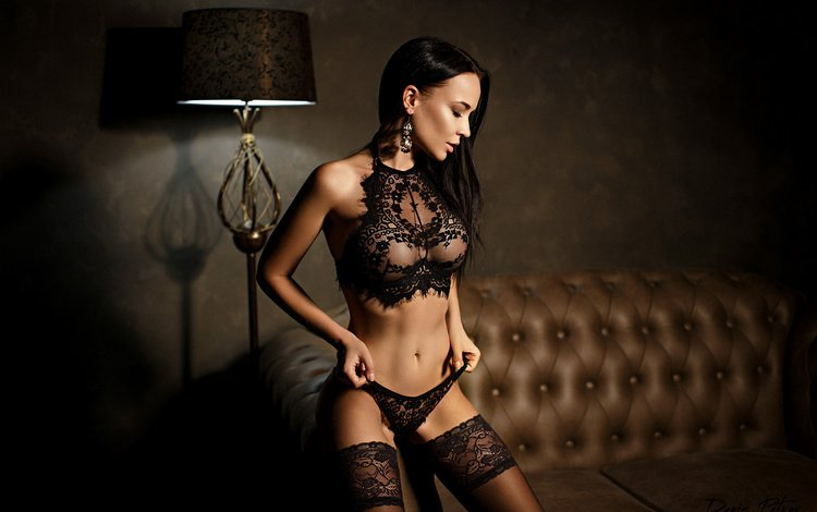 girl, brunette, model, black lingerie, angelina petrova
