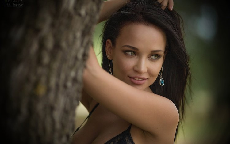 girl, smile, brunette, look, model, posing, earrings, angelina petrova