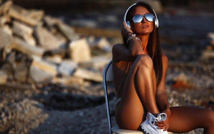 sunset, girl, headphones, chair, model, feet, topless, sunglasses, sitting, artem savinkov, anyuta furnosova