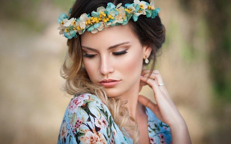 girl, portrait, look, model, hair, face, wreath, marina martos soler
