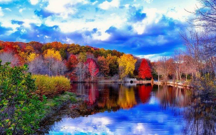 небо, облака, деревья, река, мостик, отражение, осень, the sky, clouds, trees, river, the bridge, reflection, autumn