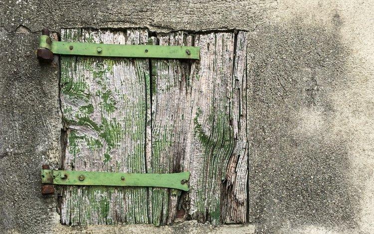 стена, доски, окно, ставни, wall, board, window, shutters