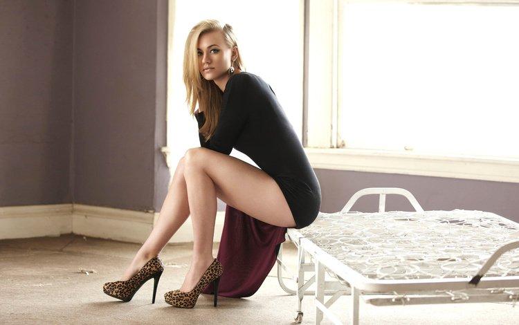 girl, blonde, look, model, sitting, legs, actress, window, shoes, yvonne strahovski