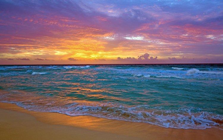 закат, море, пляж, 2, sunset, sea, beach