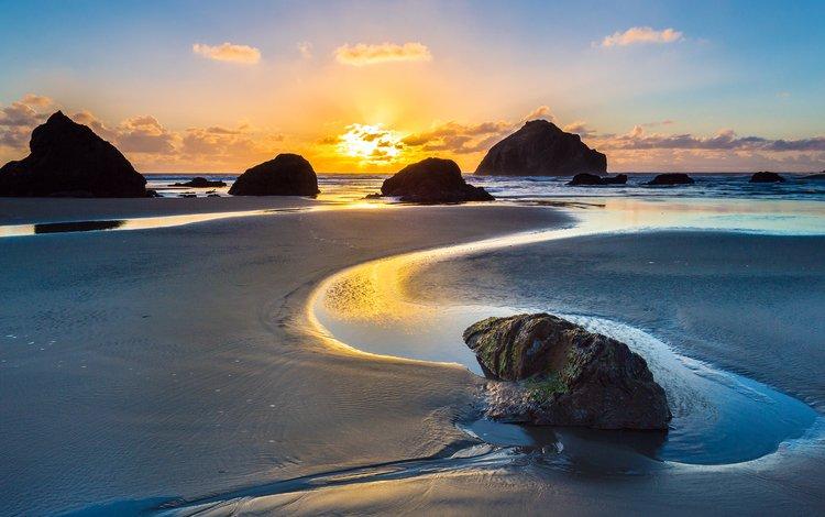 закат, море, пляж, sunset, sea, beach