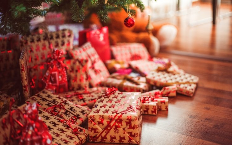 новый год, подарки, олени, праздник, рождество, коробки, new year, gifts, deer, holiday, christmas, box