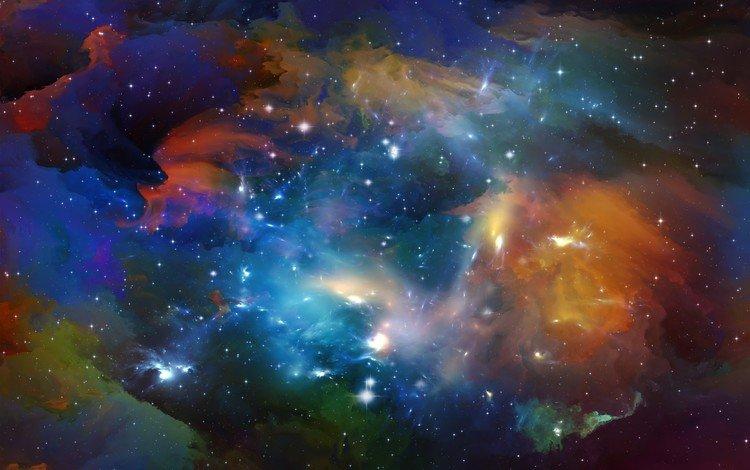 небо, космос, звезды, туманность, the sky, space, stars, nebula