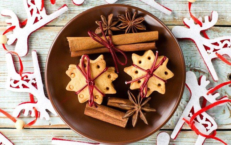 новый год, корица, олени, рождество, печенье, выпечка, бадьян, new year, cinnamon, deer, christmas, cookies, cakes, star anise