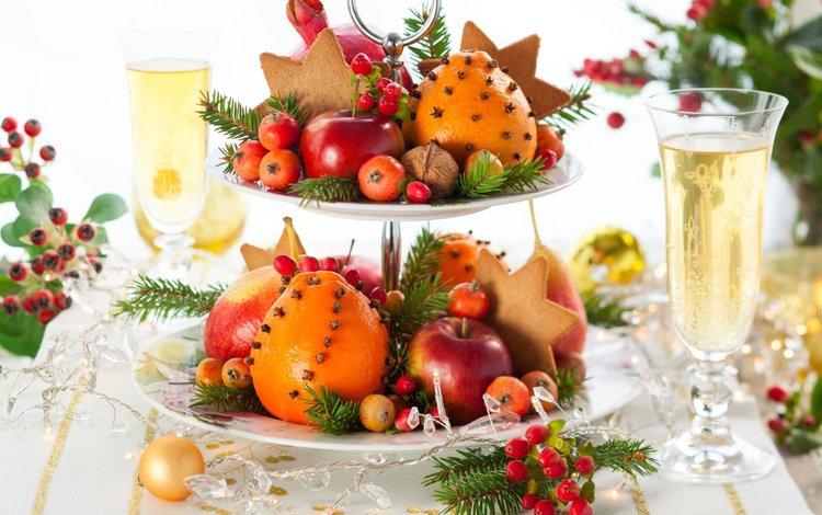 новый год, орехи, фрукты, яблоки, апельсины, шампанское, печенье, new year, nuts, fruit, apples, oranges, champagne, cookies