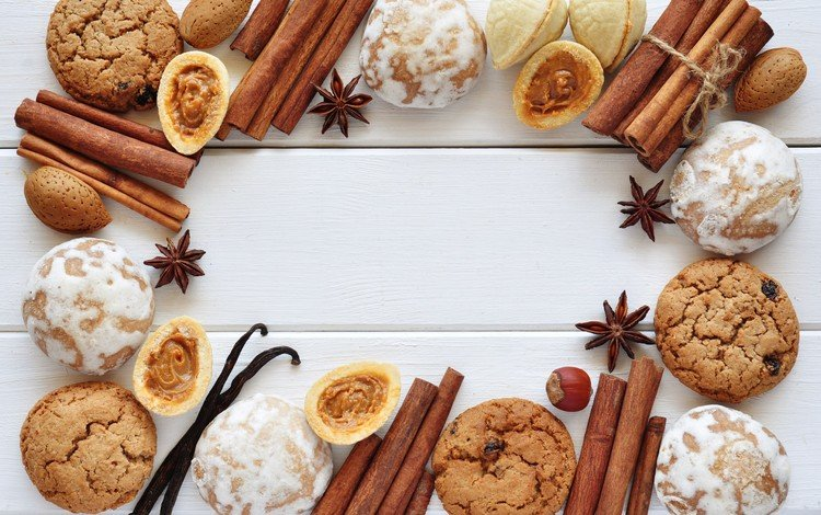 орехи, корица, рождество, печенье, выпечка, пряники, бадьян, nuts, cinnamon, christmas, cookies, cakes, gingerbread, star anise