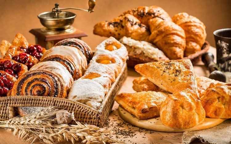 хлеб, слойки, выпечка, булочки, круассан, сдоба, круассаны, кофемолка, ассорти, bread, puff, cakes, buns, croissant, muffin, croissants, coffee grinder, cuts