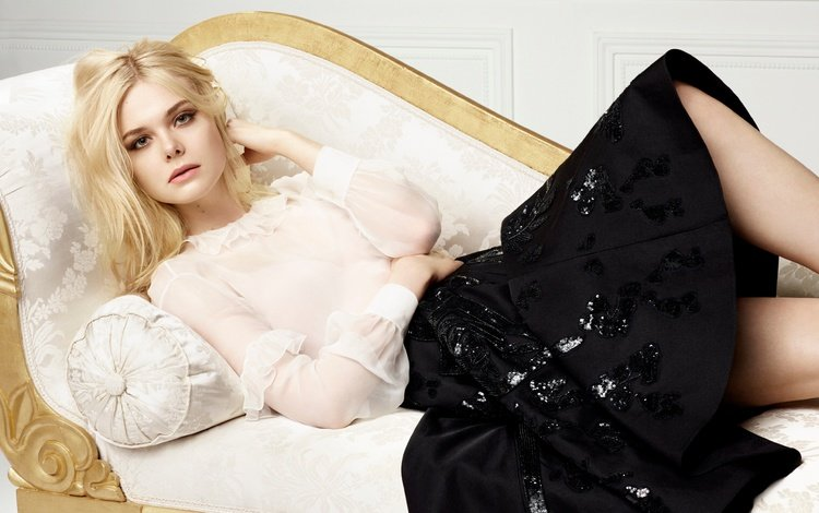 girl, blonde, lies, skirt, model, actress, makeup, hairstyle, sofa, posing, blouse, photoshoot, el fanning, elle fanning, l'oreal paris