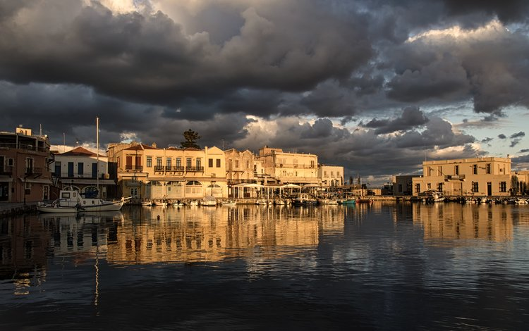небо, порт, облака, утром, зима, theophilos papadopoulos, ретимно, отражение, крит, море, город, лодки, греция, the sky, port, clouds, in the morning, winter, rethymno, reflection, crete, sea, the city, boats, greece