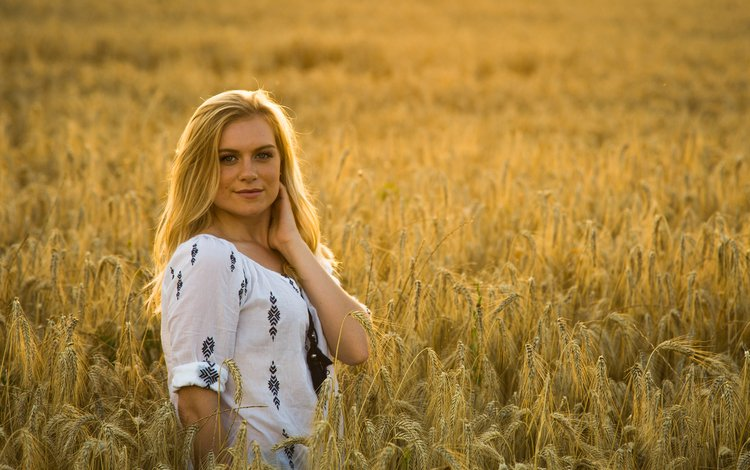 girl, blonde, smile, field, look, model, ears, wheat, face