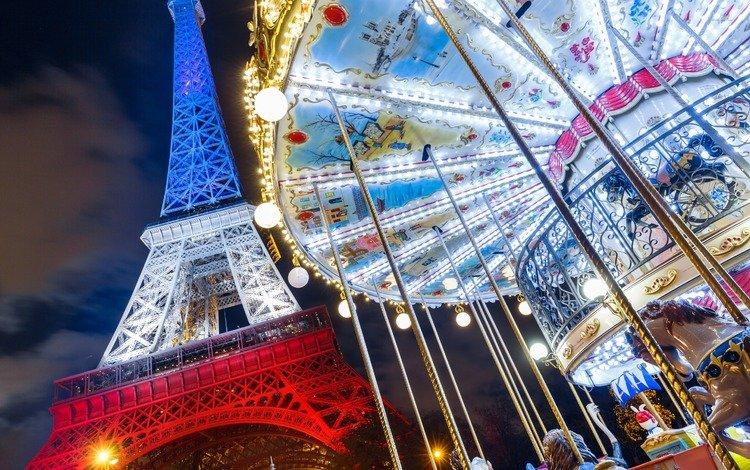 paris, france, eiffel tower, carousel