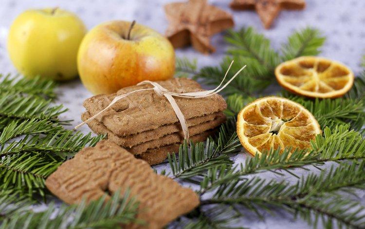 новый год, выпечка, хвоя, ветки, фрукты, яблоки, лимон, ель, печенье, new year, cakes, needles, branches, fruit, apples, lemon, spruce, cookies