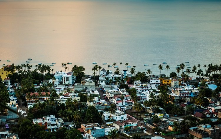 shore, sunset, the city, coast, the ocean, resort, building, mexico