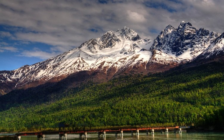 небо, облака, горы, природа, пейзаж, мост, аляска, the sky, clouds, mountains, nature, landscape, bridge, alaska