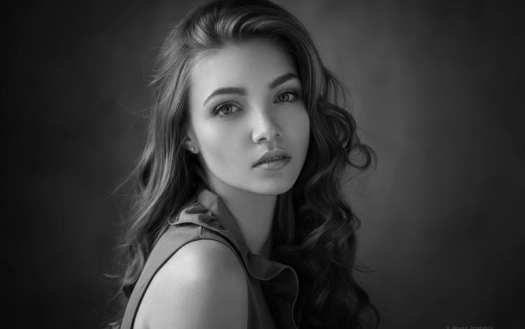 girl, look, black and white, hair, face, alina, dennis drozhzhin