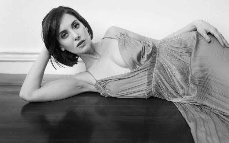 girl, dress, look, black and white, hair, face, neckline, lying, alison brie