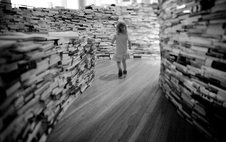 dress, black and white, books, girl, hair, library