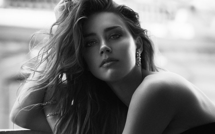 girl, portrait, look, black and white, model, lips, actress, amber heard