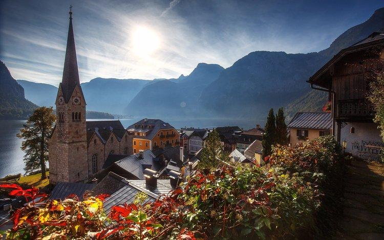 lake, mountains, hills, nature, landscape, the city, autumn, austria, tower, home, hallstatt, andrey bazanov, community