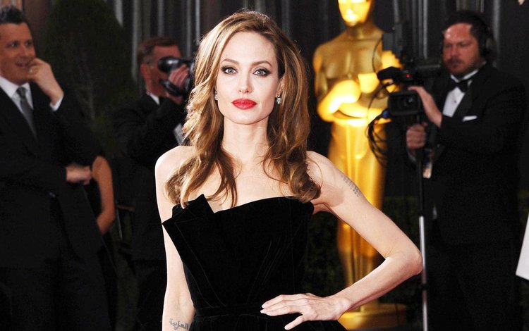 girl, look, hair, face, actress, angelina jolie, black dress