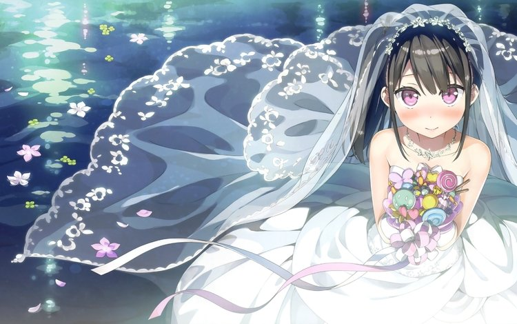 bride, flowers, wedding dress, black hair, anime girl