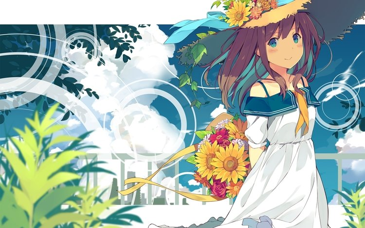 clouds, flowers, summer dress, anime girl, straw hat