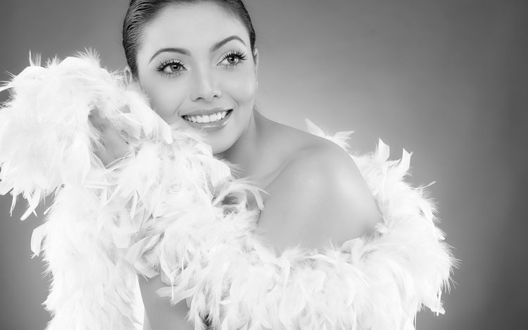 girl, smile, look, black and white, hair, face, feathers, anju biswas