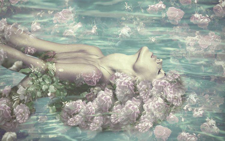 flowers, water, girl, roses, closed eyes