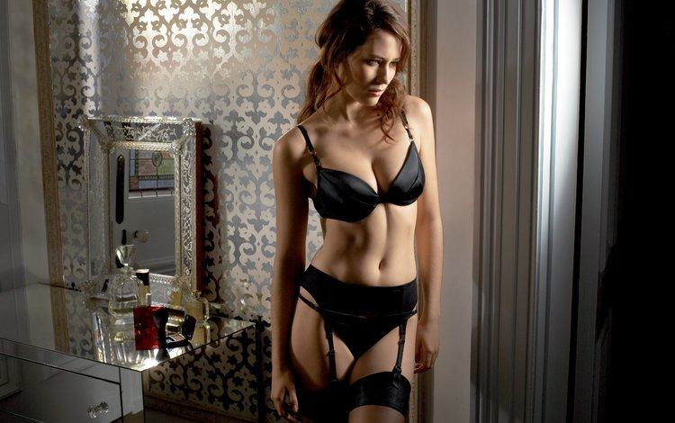 girl, pose, mirror, model, chest, stockings, curls, bedroom, cosmetics, bust, perfume, brown hair, neckline, black lingerie, wardrobe