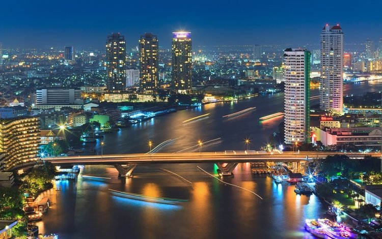 огни, таиланд, река, катера, корабли, ноч, города, бангкок, панорама, timelapse, мост, небоскребы, постройки, lights, thailand, river, boats, ships, night, city, bangkok, panorama, bridge, skyscrapers, buildings