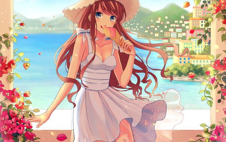 девушка, платье, взгляд, волосы, лицо, аниме девочка, оригинальная, eating ice-cone, girl, dress, look, hair, face, anime girl, original