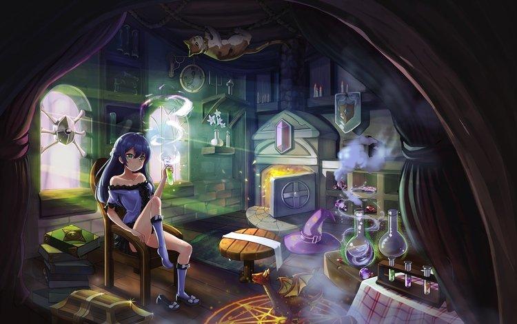 девушка, взгляд, ведьма, волосы, лицо, аниме девочка, оригинальная, experiments, girl, look, witch, hair, face, anime girl, original