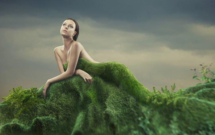 grass, girl, look, creative, moss, hair, face, bare shoulders
