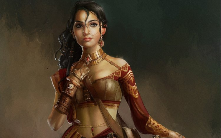 art, girl, look, fantasy, hair, face, woman warrior